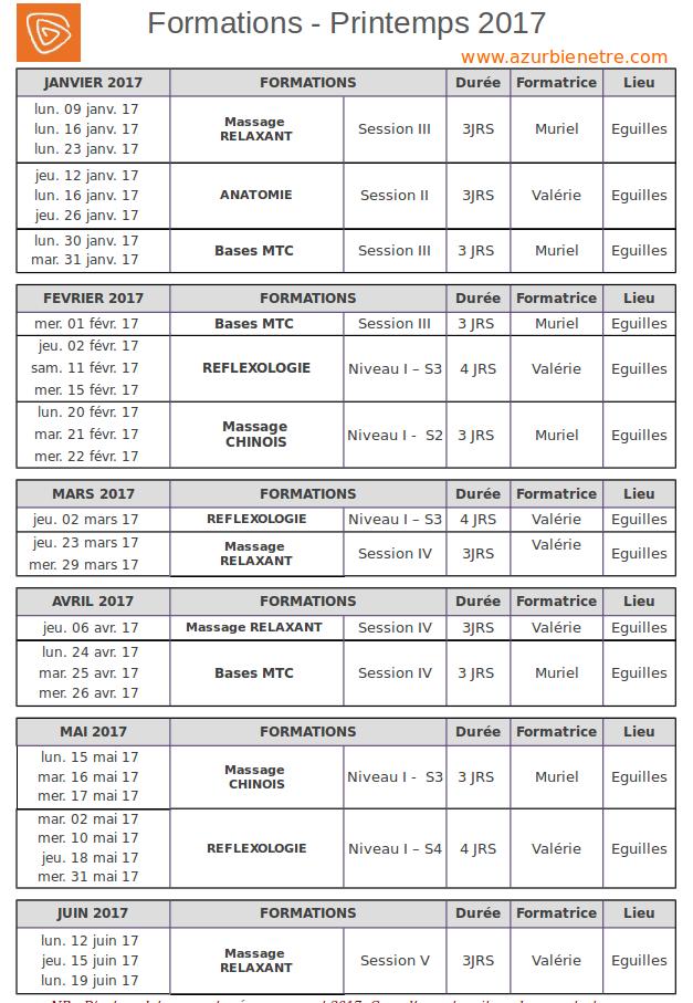Agenda ABE printemps 2017